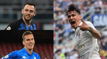 Berikut 11 pemain dengan penampilan terbaik di Serie A Italia sejak transfer musim dingin 2019 dengan menggunakan formasi 3-4-3. Sumber: Opta Data (Kolase Foto AFP)