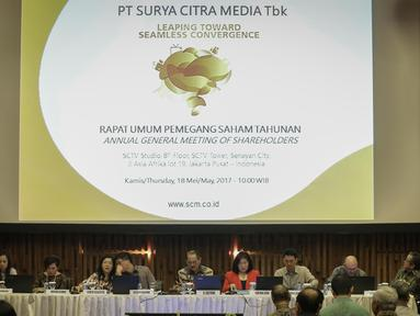Suasana saat Rapat Umum Pemegang Saham Tahunan (RUPST ) PT. Surya Citra Media Tbk (SCMA) di SCTV Tower, Jakarta, Kamis (18/5). SCMA membagikan dividen sebesar Rp 73 per saham dari laba bersih tahun buku 2016. (Liputan6.com/Faizal Fanani)