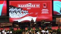 Presiden Jokowi saat menghadiri Rakernas III Projo. (Liputan6.com/Ahmad Romadoni)