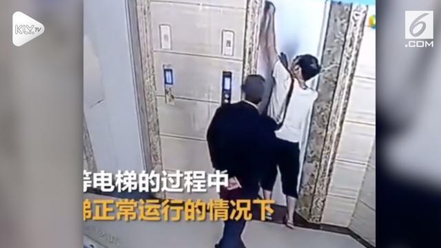 Rekaman kamera CCTV yang memperlihatkan detik-detik seorang pria jatuh dari lift dan akhirnya tewas.