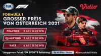 Live streaming Formula 1 Austria dapat disaksikan di FOX Sports melalui platform Vidio. (Dok. Vidio)