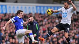Gelandang Tottenham Hotspur Andros Townsend duel dengan Pemain Everton Seamas Coleman saat pertandingan sepak bola Liga Utama Inggris antara Tottenham Hotspur dan Everton di White Hart Lane di London, 9 Februari 2014. (AFP/Carl Court)