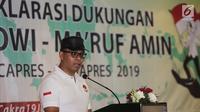 Ketua Tim Cakra19, Andi Widjajanto memberi sambutan pada Deklarasi Dukungan Jokowi-Ma'ruf Amin sebagai Capres dan Cawapres 2019 di Jakarta, Minggu (12/8). Kata Cakra diambil dari bahasa Sansekerta. (Liputan6.com/Fery Pradolo)