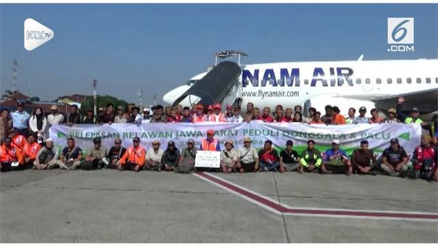 Selain menyumbang dana sebesar Rp 2 miliar, Pemprov Jawa Barat mengirim 70 Relawan ke Palu dan Donggala