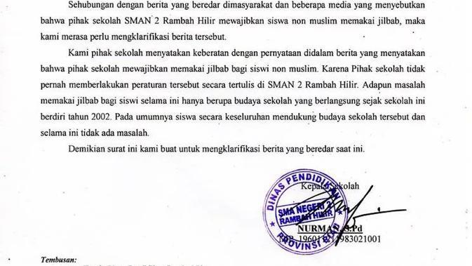 Screenshot: Cek Fakta - Klarifikasi soal Kewajiban Berjilbab Siswi SMAN di Rokan Hulu, Riau. (Liputan6.com)