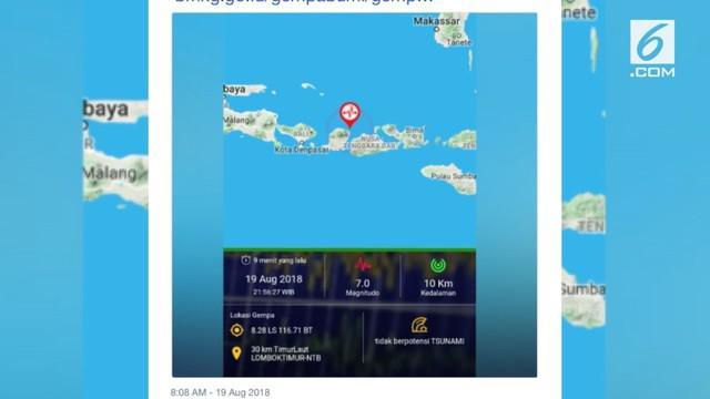 Gempa bumi dengan magnitudo 7,0 SR mengguncang Lombok, Nusa Tenggara Barat pada Minggu 19 Agustus 2018 pukul 21.56 WIB.