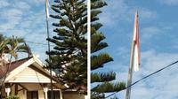 Bendera Negara rusak berkibar di Makassar, Selasa (6/8/2019). Sumber: Akbar Mangenre Kurusi