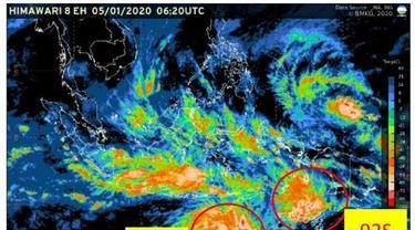 """pertumbuhan bibit siklon tropis dengan kode """"98S"""" yang berada di Samudra Hindia sebelah barat daya Bengkulu."""