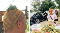 Penjual nanas di Cina, Su Changfeng memotong rambutnya model nanas. Su telah memotong rambutnya itu sejak Mei 2019. (Sumber: Weixin dan China Plus)