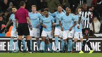 Raheem Sterling mencetak gol untuk Manchester City pada laga melawan Newcastle United di Premier League. (doc. Manchester City)