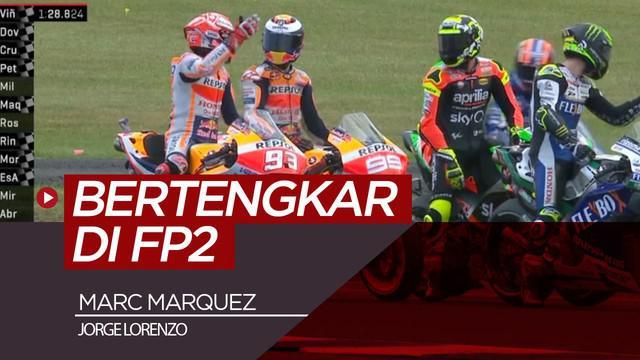 Berita video momen Marc Marquez tampak bertengkar dengan Jorge Lorenzo saat free practice 2 MotoGP Australia, Jumat (25/10/2019). Ada apa?