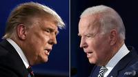 Debat capres antara Donald Trump dan Joe Biden pada Selasa 29 September 2020 yang berlangsung dengan kacau. (AFP / JIM WATSON, SAUL LOEB)