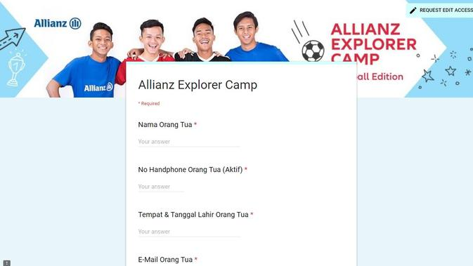 Tutorial pengisian formulir pendaftaran Allianz Explorer Camp 2019