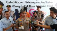 Kapolres Mataram AKBP Saeful Alam sedang press reales beberapa kasus kejahatan selama 6 bulan terakhir di Mapolres Mataram pada Jumat (25/10/2019)