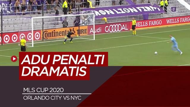 Berita video aksi adu penalti dramatis di MLS Cup antara Orlando City Vs New York City, Minggu (22/11/20).