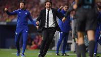 Antonio Conte merayakan gol yang dicetak Chelsea ke gawang Atletico Madrid pada Matchday-2 Liga Champions. (doc. Chelsea FC)
