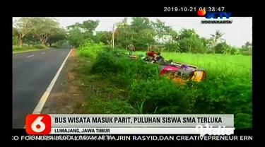 Bus pariwisata yang membawa rombongan siswa SMA Negeri 2 Genteng, Kabupaten Banyuwangi, mengalami kecelakaan tunggal dan terguling di Desa Sukosari, Kabupaten Lumajang, Jawa Timur.
