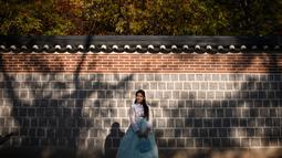 Seorang wanita mengenakan pakaian tradisional hanbok berpose saat difoto di bawah pohon ginkgo di istana Gyeongbokgung di Seoul (31/10). Pohon ini dikenali mirip dengan fosil 270 juta tahun lalu. (AFP Photo/Ed Jones)