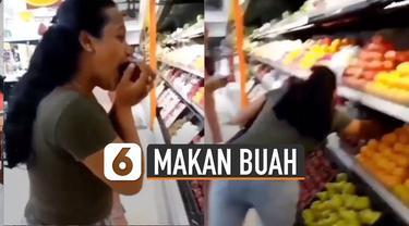 Aksi menjijikan dilakukan oleh beberapa remaja perempuan ini yang sengaja makan buah di supermarket dan sisanya dikembalikan lagi.