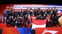 Indonesia meraih gelar pada Kejuaraan Bulutangkis Beregu Asia 2020 setelah mengalahkan Malaysia 3-1 di Rizal Memorial Sports Complex, Manila, Filipina, Minggu (16/2/2020). (PBSI)