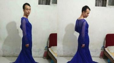 Tuai Pujian, Pria di Tiongkok Kenakan Gaun yang Dijualnya Sendiri