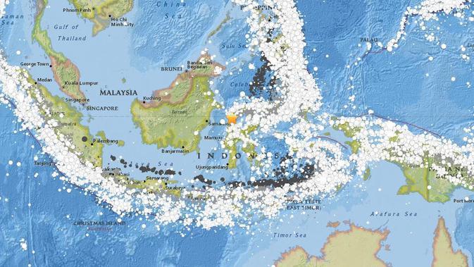 Peta yang meunjukkan riwayat gempa Nusantara dan episentrum atau pusat lindu di Palu pada 28 September 2018. (Credit: USGS. Public domain)