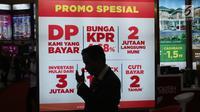 Promosi menarik dari pameran Indonesia Property Expo (IPEX) 2018 di Jakarta Convention Centre (JCC), Jakarta, Sabtu (3/3). BTN juga menyediakan fasilitas uang muka ringan mulai dari 5 persen untuk KPR dan KPA Nonsubsidi. (Liputan6.com/Angga Yuniar)
