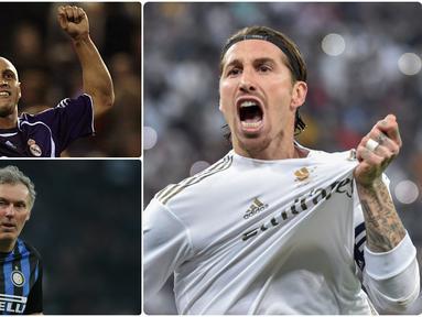 Pencetak gol dalam sepak bola biasanya identik dengan pemain penyerang. Namun, beberapa bek juga mampu menjadi pemain yang rajin mencetak gol bagi timnya. Berikut Sergio Ramos dan bek pencetak gol terbanyak. (kolase foto AFP)