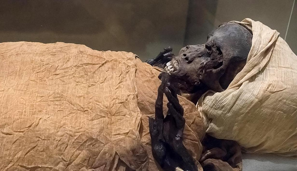 Gambar selebaran yang dirilis oleh Kementerian Pariwisata dan Purbakala Mesir pada 17 Februari 2021 menunjukkan penampakan mumi raja Mesir kuno Seqenenre Taa II. Ilmuwan Mesir telah menetapkan bahwa firaun Seqenenre Taa II tewas dalam pertempuran. (Egyptian Ministry of Antiquities/AFP)