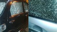 Mobil yang diberondong peluru di Kantor Konfederasi Serikat Buruh Sejahtera Indonesia (KSBSI). (IST)