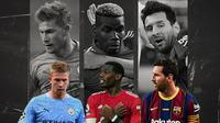 Kevin De Bruyne Paul Pogba dan Lionel Messi. (Bola.com/Dody Iryawan)