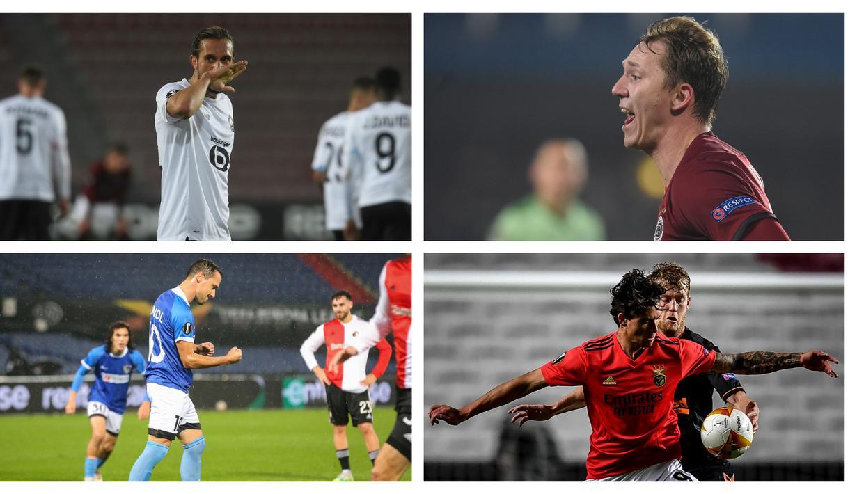 Hingga memasuki matchday ke-4 Liga Europa musim 2020/21, tercatat ada 5 pemain yang mampu mencetak hattrick. Bahkan, ada satu nama yang mampu membuatnya lebih dari satu kali, yaitu striker Lille, Yusuf Yazici.  (Kolase Foto AFP)