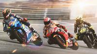 MotoGP - Alex Rins, Marc Marquez, Valentino Rossi (Bola.com/Adreanus Titus)