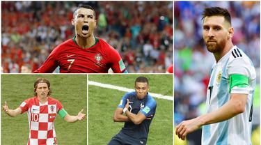 Berikut ini daftar 10 pemain terbaik yang masuk nominasi FIFA 2018. Tiga diantaranya adalah, Lionel Messi, Cristiano Ronaldo dan Luka Modric. (Foto-foto Kolase AP dan AFP)