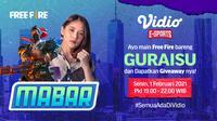 Main bareng Free Fire bersama Grace eks JKT48, Senin (1/2/2021) pukul 19.00 WIB dapat disaksikan melalui platform Vidio, laman Bola.com, dan Bola.net. (Dok. Vidio)