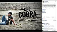 Sehari sebelum digigit king cobra peliharaan, Rizki Ahmad sempat mengunggah foto dan status akun pribadinya di media sosial. (Screenshot: Facebook/akun Rizky Ahmat)