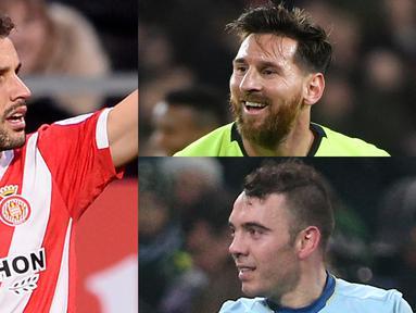 Raihan satu gol saat membawa Girona menahan imbang Atletico Madrid 1-1 membuat Stuani semakin nyaman di puncak dengan 11 gol menjauhi raihan gol sang mega bintang, Lionel Messi (Kolase Foto AFP)