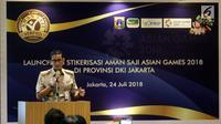 Wakil Gubernur DKI Jakarta Sandiaga Uno memberi sambutan sebelum penempelan stiker aman saji Asian Games 2018 di salah satu restoran di Plaza Indonesia, Jakarta, Selasa (24/7).  (Liputan6.com/Arya Manggala)