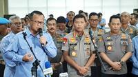 Menteri Kelautan dan Perikanan Edhy Prabowo, Kapolri Jenderal Pol Idham Azis dan Kepala Badan Reserse Kriminal Polri, Komjen Listyo Sigit Prabowo (kiri-kanan). (Liputan6.com/Ady Anugrahadi)