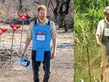 Foto kombinasi mendiang Putri Diana berjalan di ladang ranjau Huambo, Angola, 15 Januari 1997 dan saat putranya Pangeran Harry, mengikuti jejaknya dengan mengunjungi ladang ranjau di Dirico , Angola, 27 September 2019. (AFP Photo/The HALO Trust)