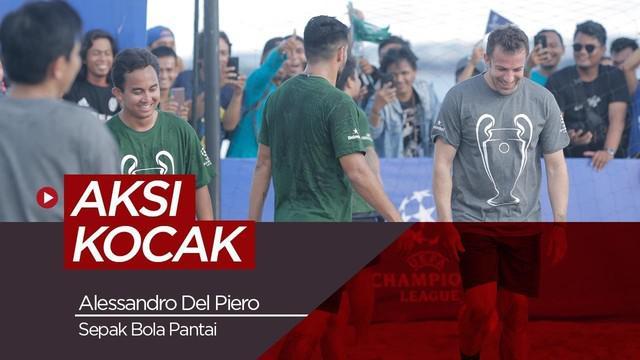 Berita video aksi kocak Alessandro Del Piero saat bermain sepak bola pantai dalam rangkaian acara UEFA Champions League Trophy Tour presented by Heineken di Bali, Minggu (17/3/2019)