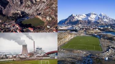Stadion atau lapangan jadi daya tarik sendiri penikmat sepak bola di dunia. Kemegahan dan fasilitas jadi alasan utama penonton untuk datang. Namun beberapa stadion atau lapangan menjadi begitu unik sebab jauh dari kesan normal. (Kolase Foto AFP)