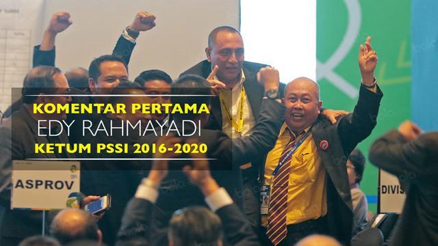 Video komentar pertama Ketua Umum PSSI periode 2016-2020, Edy Rahmayadi.