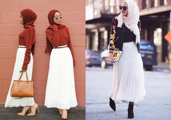 Rok warna putih bisa dipadu padankan dengan atasan dengan berbagai warna menawan/copyright pinterest.com
