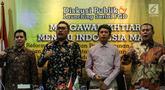 Ketua F-PKB Cucun Ahmad Syamsurizal (kanan) bersama Ketua DPP PKB Jazilul Fawaid (kedua kiri) saat menjadi narasumber pada diskusi publik dan launching FGD F-PKB di Kompleks Parlemen, Jakarta, Selasa (16/7/2019). FGD membahas tema 'Mengawal Ikhtiar Menuju Indonesia Maju'. (Liputan6.com/JohanTallo)