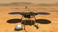 Konsep seniman yang menggambarkan pesawat pendarat InSight milik NASA. Robot ini berhasil menyentuh permukaan Mars. (Gambar via NASA / JPL-Caltech)
