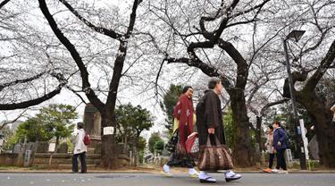 Orang-orang berjalan di Pemakaman Yanaka yang dikelilingi oleh pohon sakura di distrik Taito, Tokyo, Jepang (26/3). Memasuki akhir Maret, pohon bunga sakura mulai bermekaran di sejumlah wilayah Jepang. (AFP Photo/Charly Triballeua)