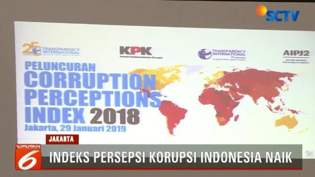 Dalam paparan di Gedung Merah Putih KPK (Komisi Pemberantasan Korupsi), disampaikan skor Indonesia juga naik satu poin dari 37 menjadi 38.