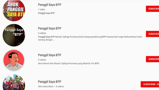 Akun YouTube palsu yang meniru kanal resmi milik Basuki Tjahaja Purnama (sumber: YouTube.com)