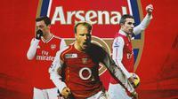 Arsenal - Mesut Ozil, Dennis Bergkamp, Robin van Persie (Bola.com/Adreanus Titus)